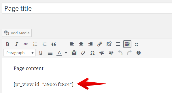 Add View shortcode to page editor